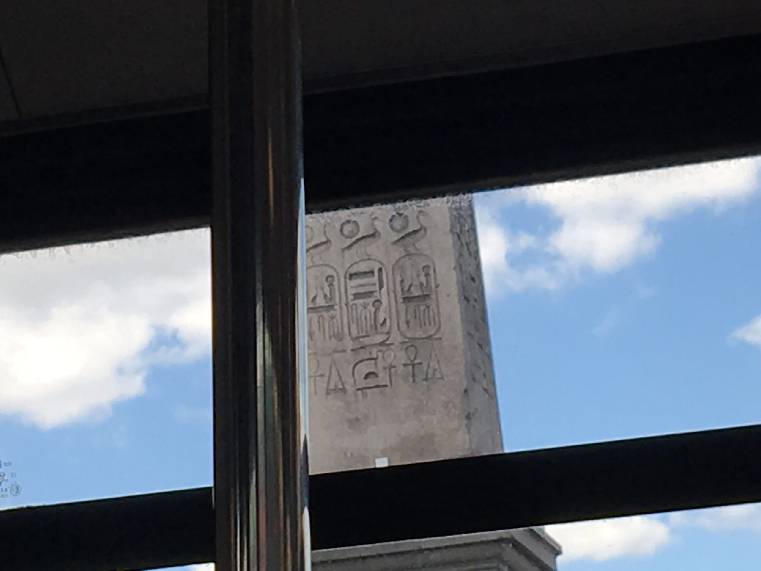 View of the obelisk with hieroglyphics in Paris, France